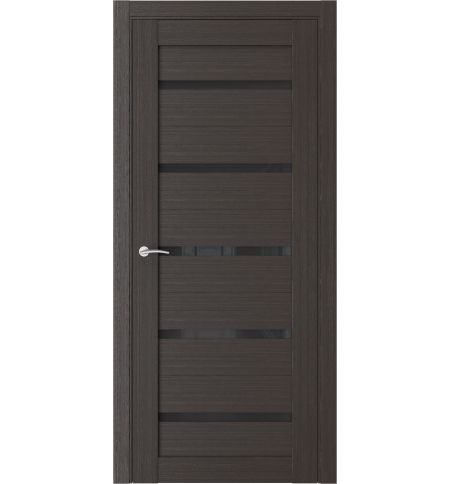 фото: Дверь ПО Q55 Орех Макадамия стекло черное из Экошпон