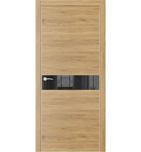 фото: Дверь ПО QIN1 Дуб миэли стекло черное из Экошпон