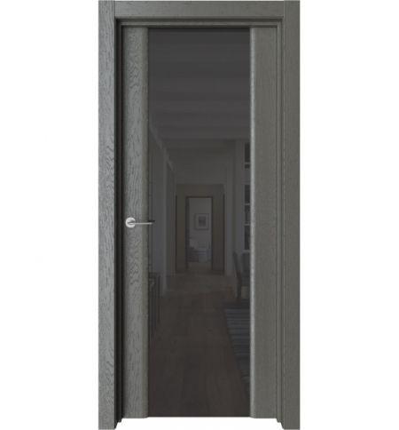 фото: Дверь ПО Рим Дуб россо стекло черное из Экошпон