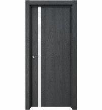 фото: Дверь ПО Стелла Дуб неро стекло белое из Экошпон