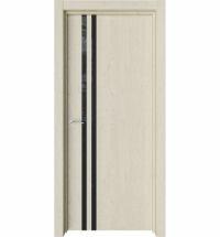фото: Дверь ПО Стелла 2 Дуб мелинга стекло черное из Экошпон