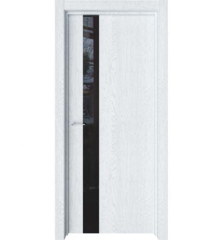 фото: Дверь ПО Альфа Дуб сатин стекло черное из Экошпон
