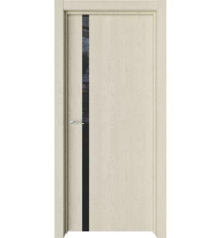 фото: Дверь ПО Стелла Дуб мелинга стекло черное из Экошпон