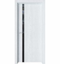 фото: Дверь ПО Стелла Дуб сатин стекло черное из Экошпон
