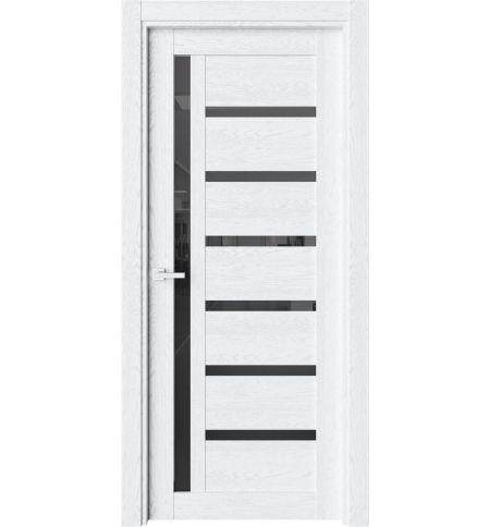 фото: Дверь ПО O45 Дуб винта стекло черное из Экошпон