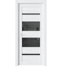 фото: Дверь ПО O42 Дуб винта стекло черное из Экошпон
