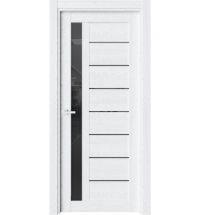 фото: Дверь ПО O37 Дуб винта стекло черное из Экошпон