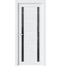 фото: Дверь ПО O28 Дуб винта стекло черное из Экошпон