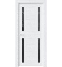 фото: Дверь ПО O27 Дуб винта стекло черное из Экошпон
