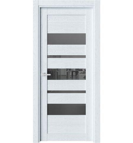 фото: Дверь ПО O19 Дуб сатин стекло черное из Экошпон