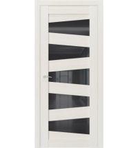 фото: Дверь ПО QT6 Лиственница белая стекло черное из Экошпон