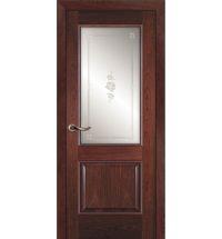 фото: Дверь ПО Твинс красное дерево, стекло Поляна из Шпон