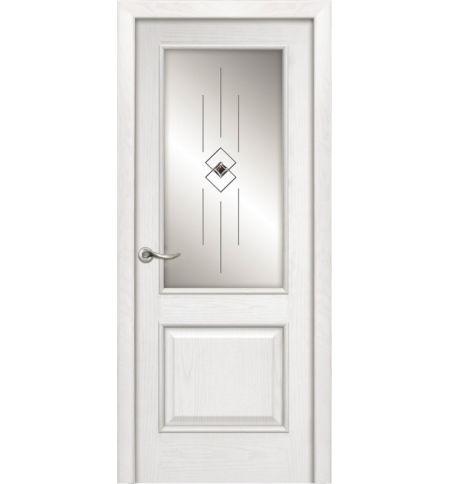 фото: Дверь ПО Твинс ясень бланко, стекло Графика из Шпон