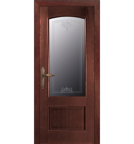 фото: Дверь ПО Рио красное дерево, стекло Адонис из Шпон