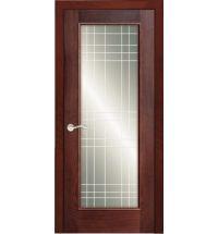 фото: Дверь ПО Монтана красное дерево, стекло Сетка из Шпон