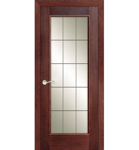 фото: Дверь ПО Монтана красное дерево, стекло Клетка из Шпон