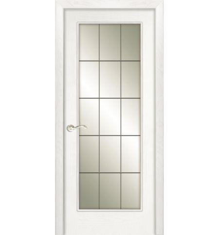 фото: Дверь ПО Монтана ясень бланко, стекло Клетка из Шпон