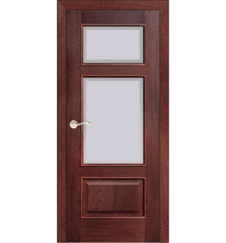 фото: Дверь ПО Монреаль красное дерево, стекло Фацет из Шпон