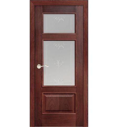 фото: Дверь ПО Монреаль красное дерево, стекло Готика из Шпон