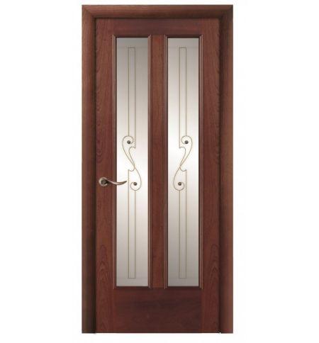 фото: Дверь ПО Бристоль красное дерево, стекло Лира из Шпон