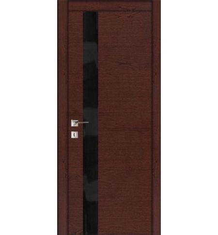 фото: Дверь ПО Геометрия С Красное дерево черное стекло из Шпон
