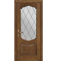 фото: Межкомнатная дверь ПО Тампа дуб миндаль, стекло Ромб из Шпон