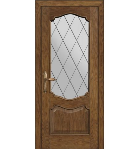 фото: Дверь ПО Тампа дуб миндаль, стекло Ромб из Шпон