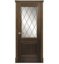 фото: Межкомнатная дверь ПО Твинс дуб миндаль, стекло Ромб из Шпон