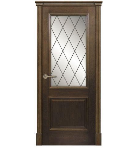 фото: Дверь ПО Твинс дуб миндаль, стекло Ромб из Шпон