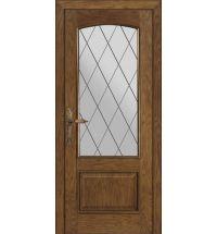фото: Межкомнатная дверь ПО Рио дуб миндаль, стекло Ромб из Шпон