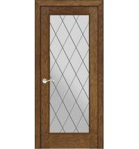 фото: Дверь ПО Монтана дуб миндаль, стекло Ромб из Шпон