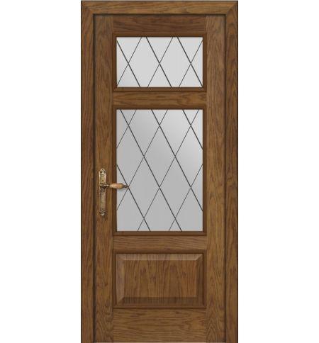 фото: Дверь ПО Монреаль дуб миндаль, стекло Ромб из Шпон