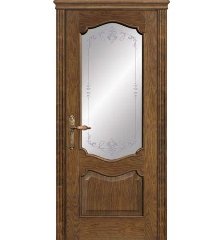 фото: Дверь ПО Тампа дуб миндаль, стекло Арабеска из Шпон