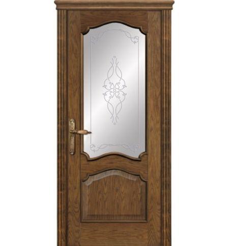 фото: Дверь ПО Сидней дуб миндаль, стекло Триумф из Шпон