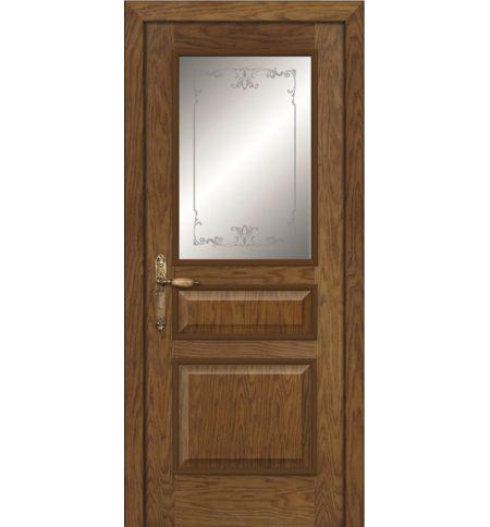 фото: Дверь ПО Пронто дуб миндаль, стекло Тюльпан из Шпон