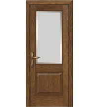 фото: Межкомнатная дверь ПО Твинс дуб миндаль, стекло Фацет из Шпон