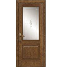 фото: Межкомнатная дверь ПО Твинс дуб миндаль, стекло Поляна из Шпон