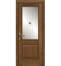 фото: Межкомнатная дверь ПО Твинс дуб миндаль, стекло Графика из Шпон