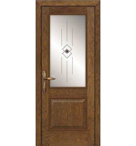 фото: Дверь ПО Твинс дуб миндаль, стекло Графика из Шпон