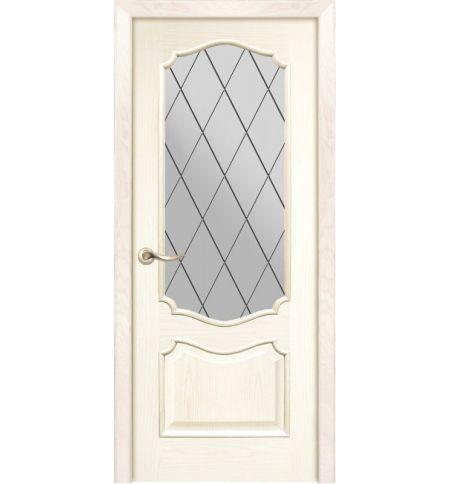 фото: Дверь ПО Тампа ясень карамель, стекло Ромб из Шпон