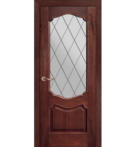фото: Дверь ПО Тампа красное дерево, стекло Ромб из Шпон