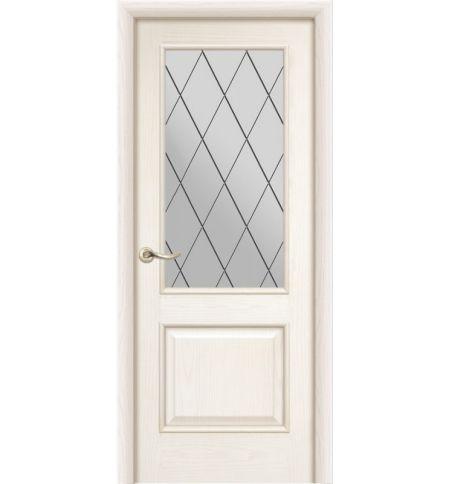 фото: Дверь ПО Твинс ясень карамель, стекло Ромб из Шпон