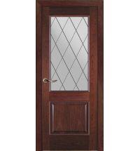 фото: Дверь ПО Твинс красное дерево, стекло Ромб из Шпон