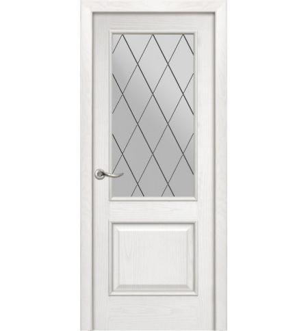 фото: Дверь ПО Твинс ясень бланко, стекло Ромб из Шпон