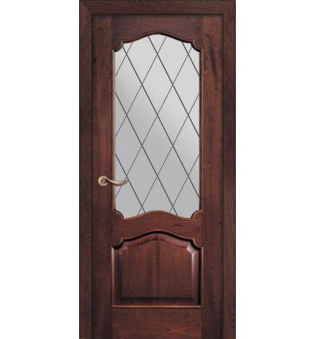 фото: Дверь ПО Сидней красное дерево, стекло Ромб из Шпон