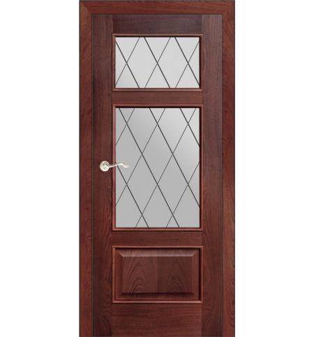 фото: Дверь ПО Монреаль красное дерево, стекло Ромб из Шпон