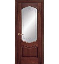 фото: Дверь ПО Тампа красное дерево, стекло Арабеска из Шпон