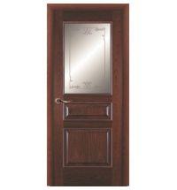 фото: Дверь ПО Пронто красное дерево, стекло Тюльпан из Шпон