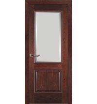 фото: Дверь ПО Твинс красное дерево, стекло Фацет из Шпон