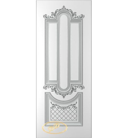 фото: Дверь Джаз, тон белый, патина серебро (акрил)